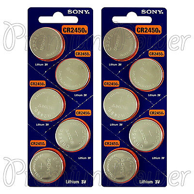 10 x SONY Lithium CR2450 batteries 3V Coin Cell DL2450 Remote Watch EXP:2025