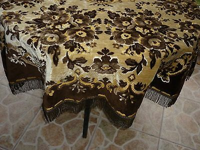 """Antique Round Tablecloth Velvet and Dralon from Blegium 19-20 Centiries 62"""" of D"""
