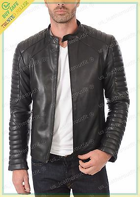 Men Leather Jacket Black Slim Fit Biker Motorcycle Genuine Lambskin Jacket MJ5