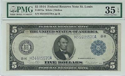 1914 $5 Federal Reserve Note - Graded PMG 35 EPQ - Fr # 875a Lincoln FRN