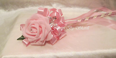 Wedding Flowers Wedding Bouquet Bridesmaids Wand Pink Rose Diamante Satin Ribbon