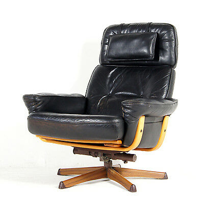 Retro Vintage Swedish Gote Mobler Leather Swivel Lounge Armchair Chair 60s 70s