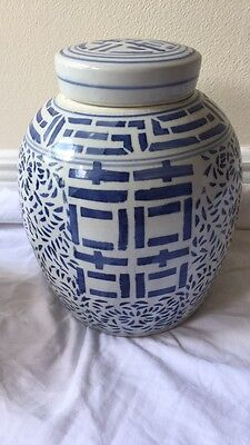 Blue And White Chinoiserie Double Happiness Ginger Jar (#1)