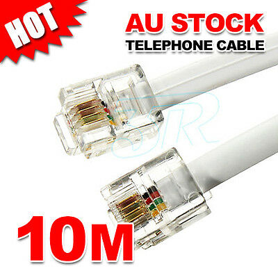 10M Phone Telephone Cable Extension Cord RJ11 Lead Plug ADSL2 Filter Modem Fax