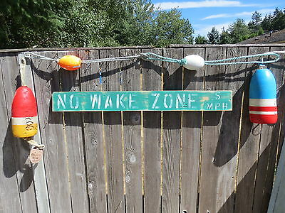 48 Inch Wood Hand Painted No Wake Zone 5Mph Sign Nautical Seafood (#s833)
