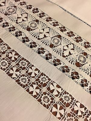 Vintage Pulled Thread Tablecloth White Linen 52x52