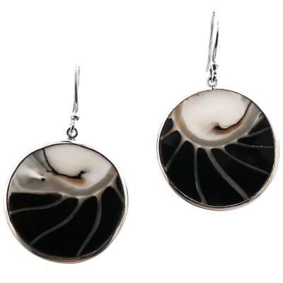 """1 1/16"""" ROUND BLACK OPEN CHAMBER NAUTILUS SHELL STERLING SILVER earrings"""