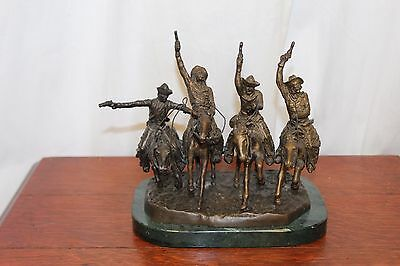 Reproduction Coming Thru The Rye Solid Bronze Sculpture Statue by F. Remington