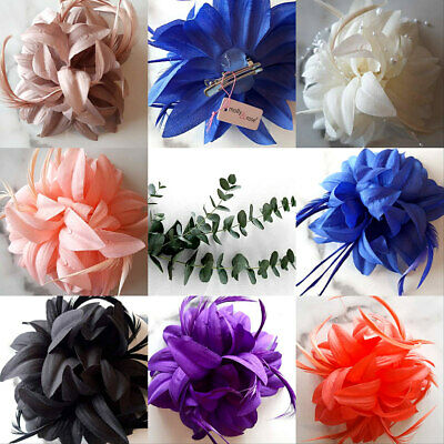Hair Flower Fascinator Feather Corsage Races Ascot Wedding Clip All Colours 31