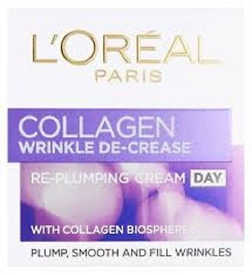 L'Oreal Collagen Wrinkle Decrease Re-Plumping Day Cream AND Night Cream 50ml ea