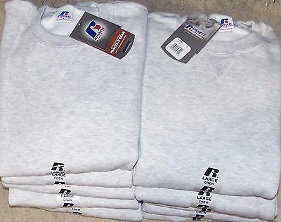 Lot 10 pc Russell Athletic Men's NuBlend Crew Sweatshirt Birch Grey