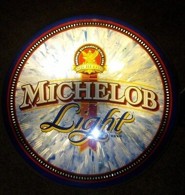 Vintage Michelob Light Round Bar Light 1990's Man Cave - Bar Area