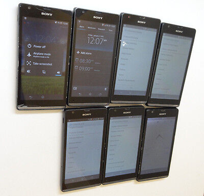 Lot of 7 Sony Xperia SP C5306 Smartphones All Power On Good LCD AS-IS