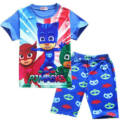 Kids Boys PJ MASK  Top T Shirts and Shorts Outfit Set K111