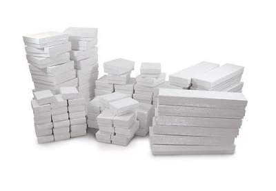 Cotton Filled White Swirl Jewelry Boxes for Rings, Earrings, Charms, Pendants, N