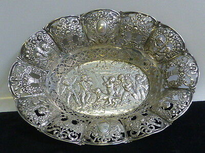 Antique German 800 Fine Silver Open Work Dish with a Repousse Cherub Design