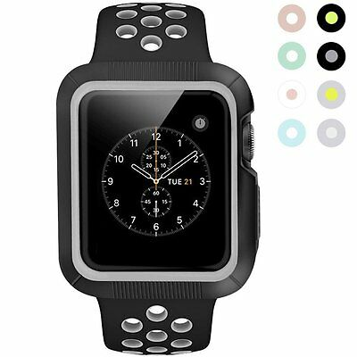 Protective Case for Apple Watch Silicone Sport Band Series 2 42mm iWatch