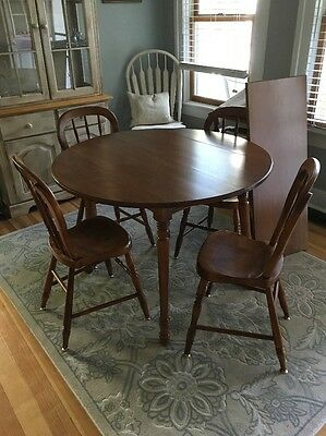 Vintage TELL CITY Maple Farmhouse Table, Leaf & Chairs Set #48 Andover
