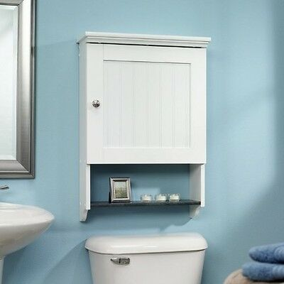 Bathroom Wall Cabinet With Adjustable Shelf Behind Door Soft White Finish