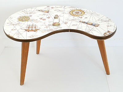 Coffee Table Tripod Rognon Haricot 1950 Formica 50S World Map Vintage Years 50