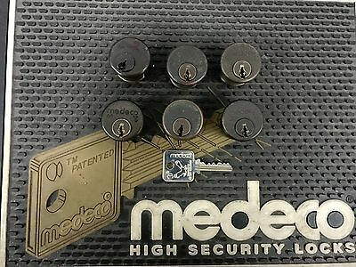 Used 5 Pin Medeco Mortise Cylinder 1 Inch x duranotic adams rite cam - 1 key