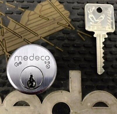 Used 5 Pin Medeco Mortise Cylinder 1 Inch x satin chrome adams rite cam - 1 key