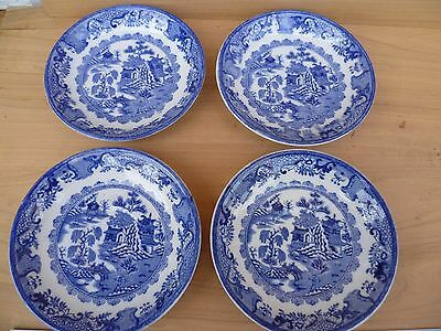 Vintage Old Blue Willow Pattern Saucer Dish's Lot 'x4' (G78)