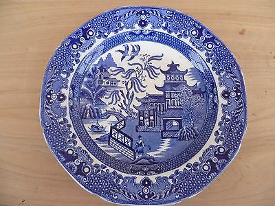 Vintage Old Blue & White Burleigh Ware China Plate, Blue Willow (G84)