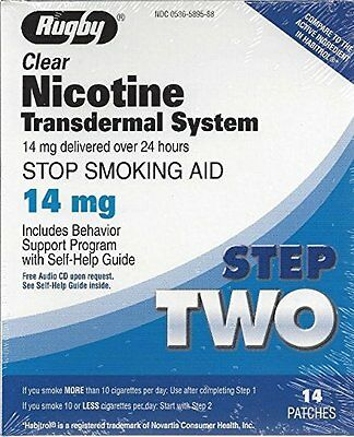 2 Pack Rugby Nicotine Transdermal System Step 2 14mg 14 Count Each