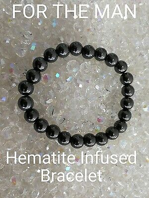 Code 642 Hematite Infused Bracelet For The Man Doreen Virtue Certified FREE POST