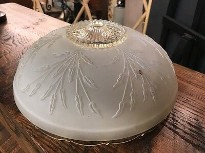 Antique frosted glass art deco light fixture ceiling chandelier 40s Glass Only