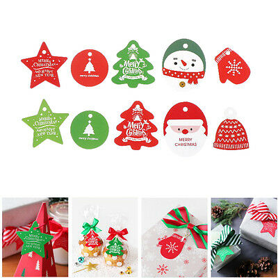 50PCS Christmas Tags Kraft Paper Tags Labels Card DIY Scrapbooking Party Crafts