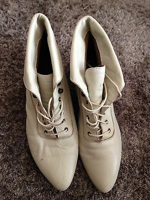 Cream Vintage Antique Upper Leather Boots, Man Made Sole. Size 11 Made In Chile