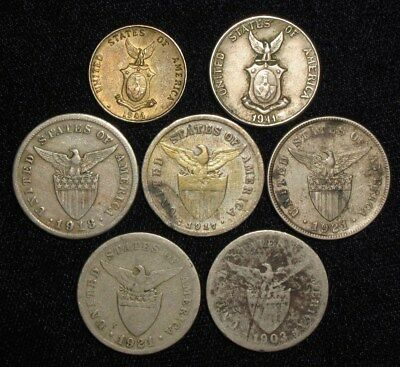 7 Coins from the Philippine Islands.  1903-1944.   No Reserve!!