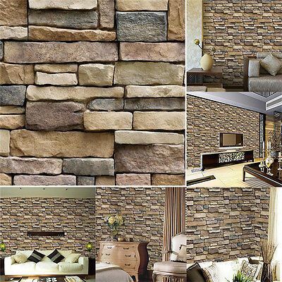 3D Modern Brick Stone Style Wallpaper Bedroom Living Mural Roll Wall Background