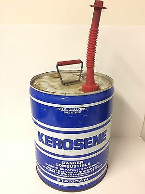 Vintage STANCAN 5 GALLON METAL VENTED KEROSENE GAS CAN With Spout & Cap Prop