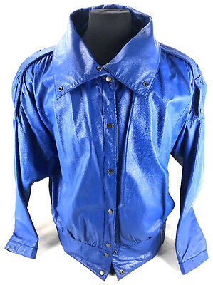 Mens Charleys Leather Blue Leather Bomber Jacket Size 13 Made In Korea