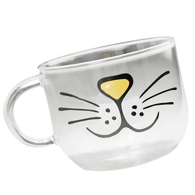 Transparent Cat Face Juice Water Milk Glass Mug Cup with Handle Holiday Gift