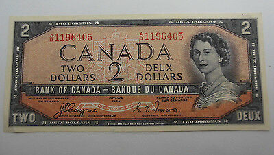 1954 DEVILS FACE Canadian $2 Bill Beattie/Coyne Choice AU Crisp # A/B1196405