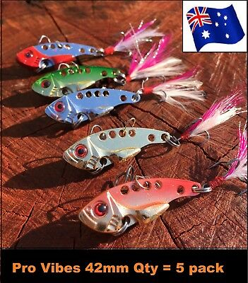 Vibe Fishing Lures Switch blade Lure 5 Pack 42 mm 7g Pro Vibes Metal Vibe Lures