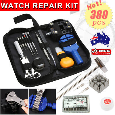 380PCS Watch Repair Tool Kit Watchmaker Back Case Opener Remover Spring Pin Bars