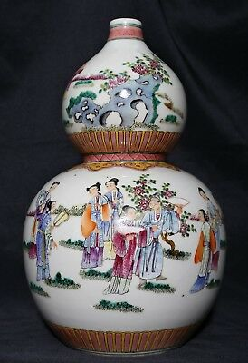 Large Rare Chinese Antique Pottery Porcelain Bottle Gourd Vase Collection FA303