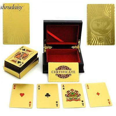 New 24K Karat Gold Foil Plated USD EUR Poker Playing Card With Wood Box S5DY