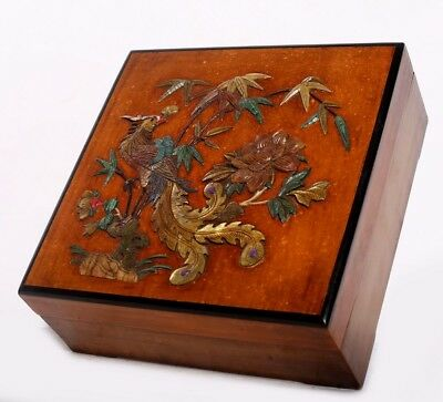 Rare Old Chinese Antique Rosewood Covered Jewelry Square Box US161
