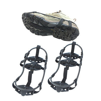 1 Pair Ice Snow Non-Slip Spikes Shoe Boots Grippers Crampon Climbing Walk Cleats
