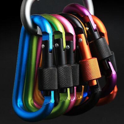 6 X Durable Aluminum Carabiner D-Ring KeyChain Clip Snap Hook Camping Sports