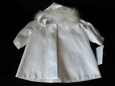 Babys Fur Trimed  Hooded Christening Jacket Cream  12-18 months bnwt