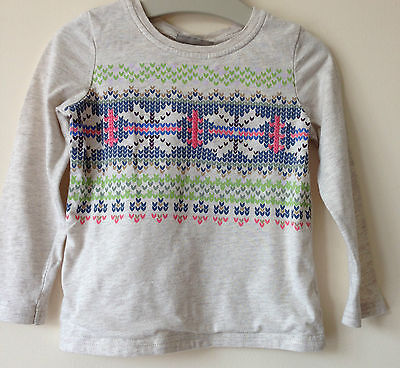 Next Girls 18-24 Months 1.5-2 Years Cotton Fair Isle Embroidered Top T-shirt @