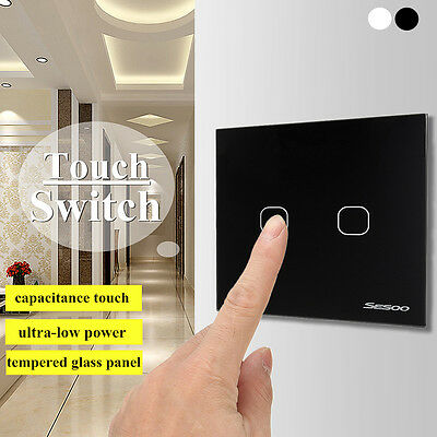 1/2Gang Wireless Remote Control Smart Touch Wall Light Switch Glass Panel