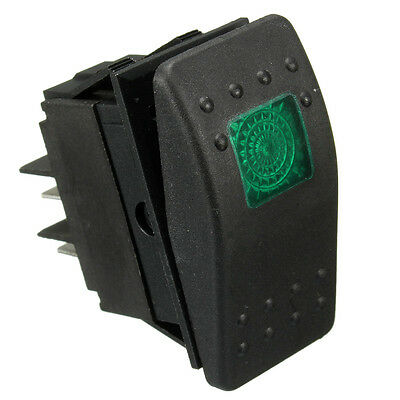 12V 24v GREEN LED ILLUMINATED ROCKER SPST ON-OFF SWITCH CAR VAN BOAT MARINE DASH